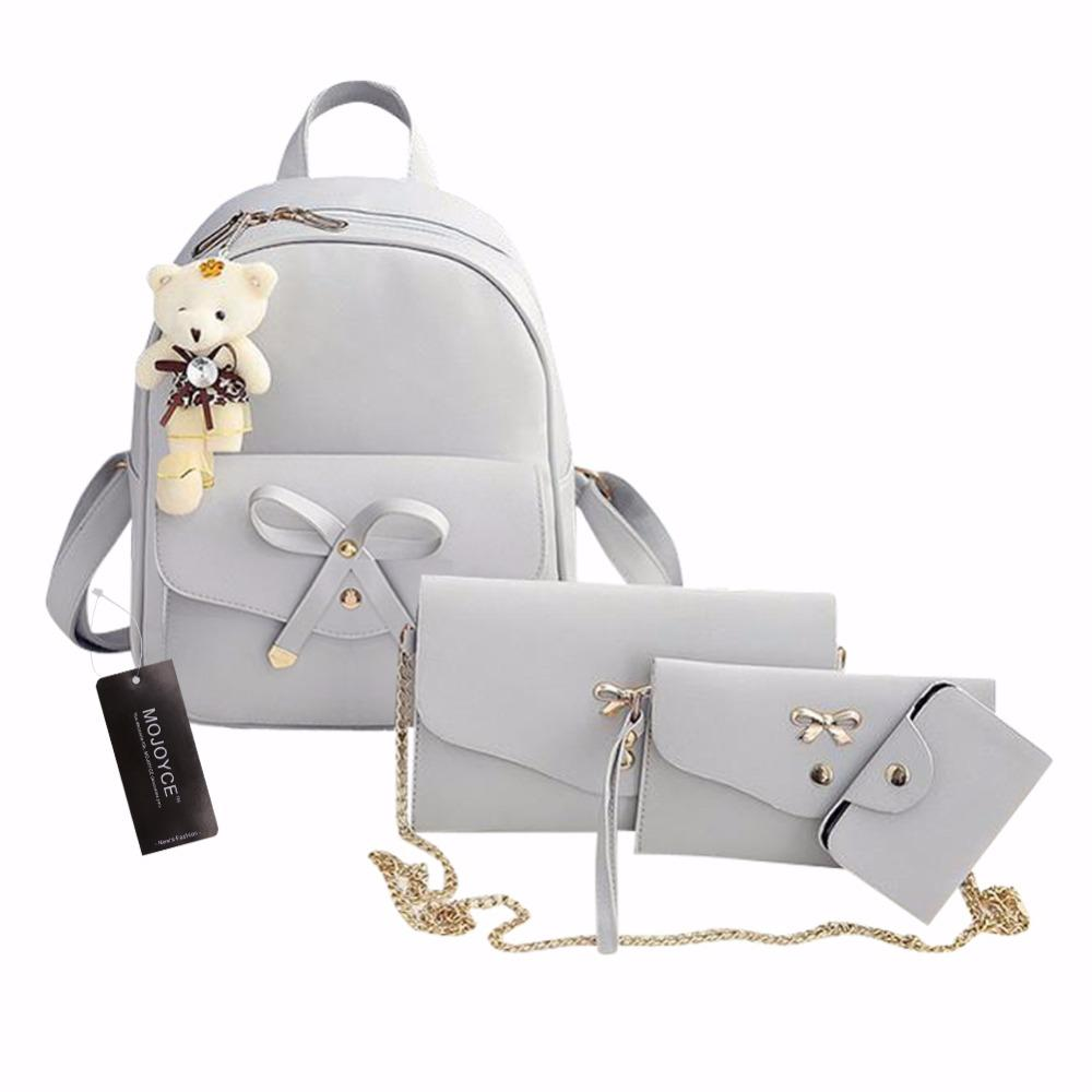 d8d58660e5 PU Leather Women Backpack Cute Bow School Bags For Teenage Girls Backpacks  Fashion Chains Shoulder Bag Purse Sac A Dos Travel Backpacks Small Backpack  From ...
