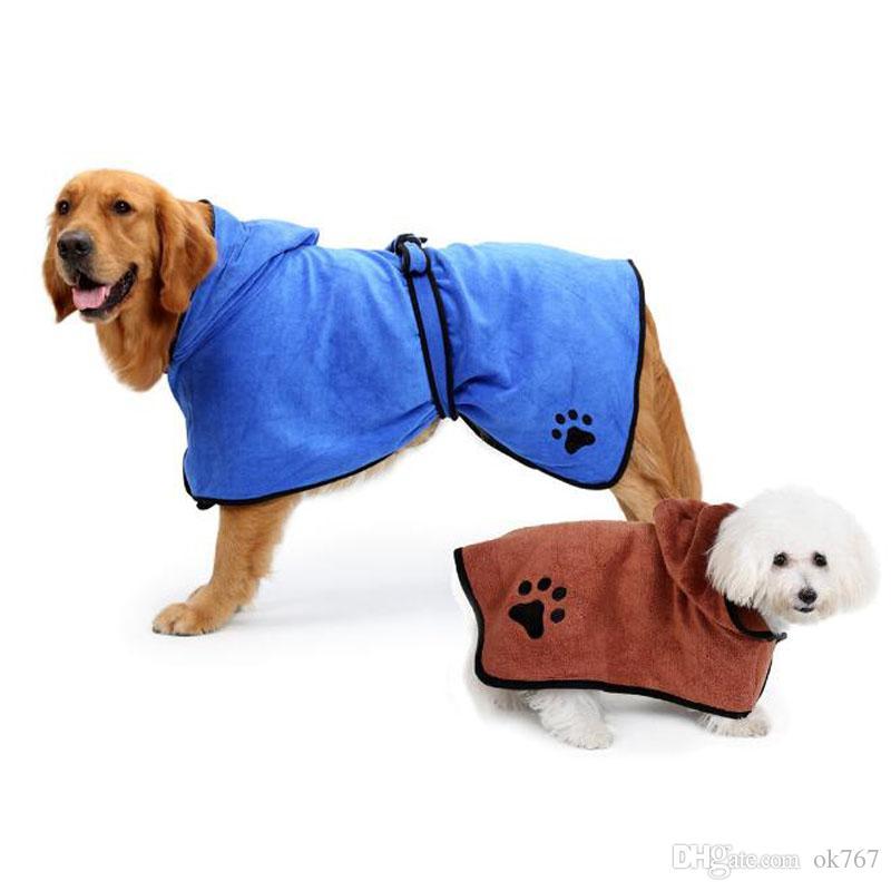 Peignoir pour chien super absorbant pour animaux de compagnie serviette de séchage de qualité broderie patte chat chien à capuchon pour animaux de compagnie serviette de bain toilettage pour animaux de compagnie