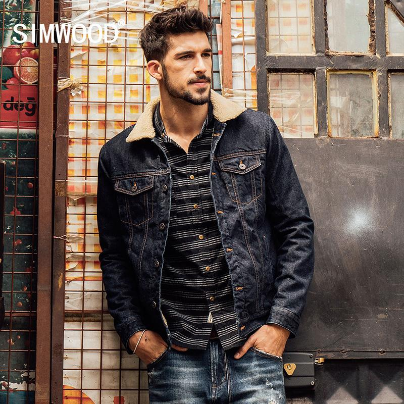 Simwood 2018 New Winter Fashion Denim Jacket Men Casual Jeans Coats