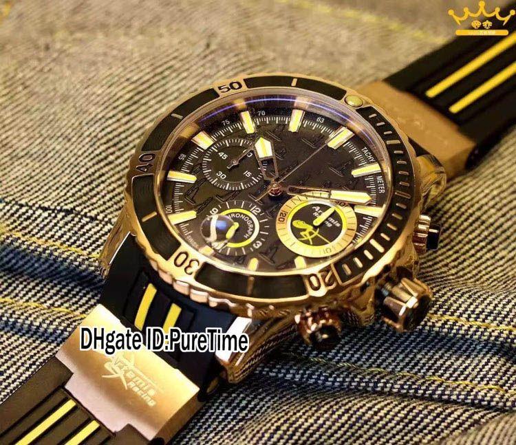 Nouveau Maxi Marine Diver 1502-151LE-3-HAMMER Or Rose Cadran Noir Quartz Chronographe Montre En Caoutchouc Chronomètre Montres Purtime Pas Cher U97B2