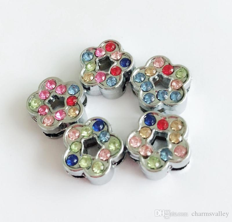 8MM Colorful Rhinestone Flower Slide Charms Letters DIY Accessories Fit 8mm Wristband  Pet Dog Name Collars Belts Tags UK 2019 From Charmsvalley 0fa0c1fdee84
