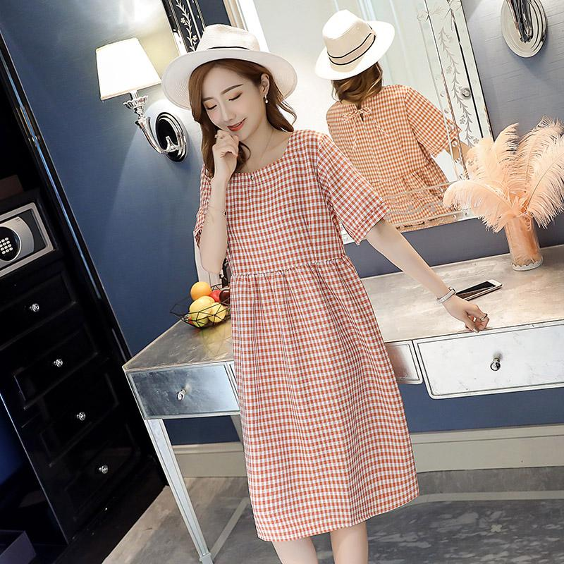 5a4f7dc7fc3 2019 Vintage Small Plaid Cotton Linen Maternity Dress Sweet Summer Loose  Clothes For Pregnant Women Elegant Pregnancy Clothing From Mingway245
