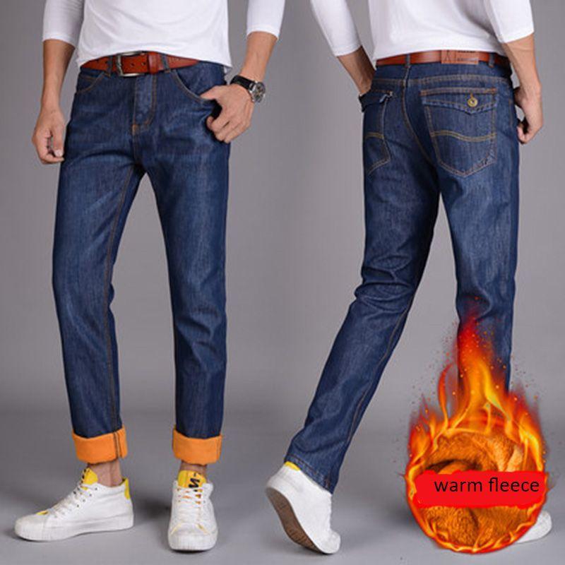 543f9f438c Großhandel Winter Herren Dicke Warme Jeans Klassische Fleece Männlichen  Denim Hosen Baumwolle Blau Schwarz Qualität Lange Hosen Für Männer Marke  Jeans Von ...