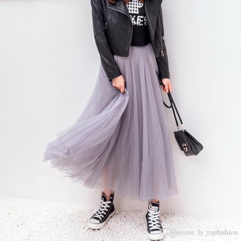 dae388ca58718 2018 Frühling Sommer Vintage Röcke Frauen Elastische Hohe Taille Tüll Mesh  Rock Lange Gefaltete Tutu Rock Weibliche Jupe Longue