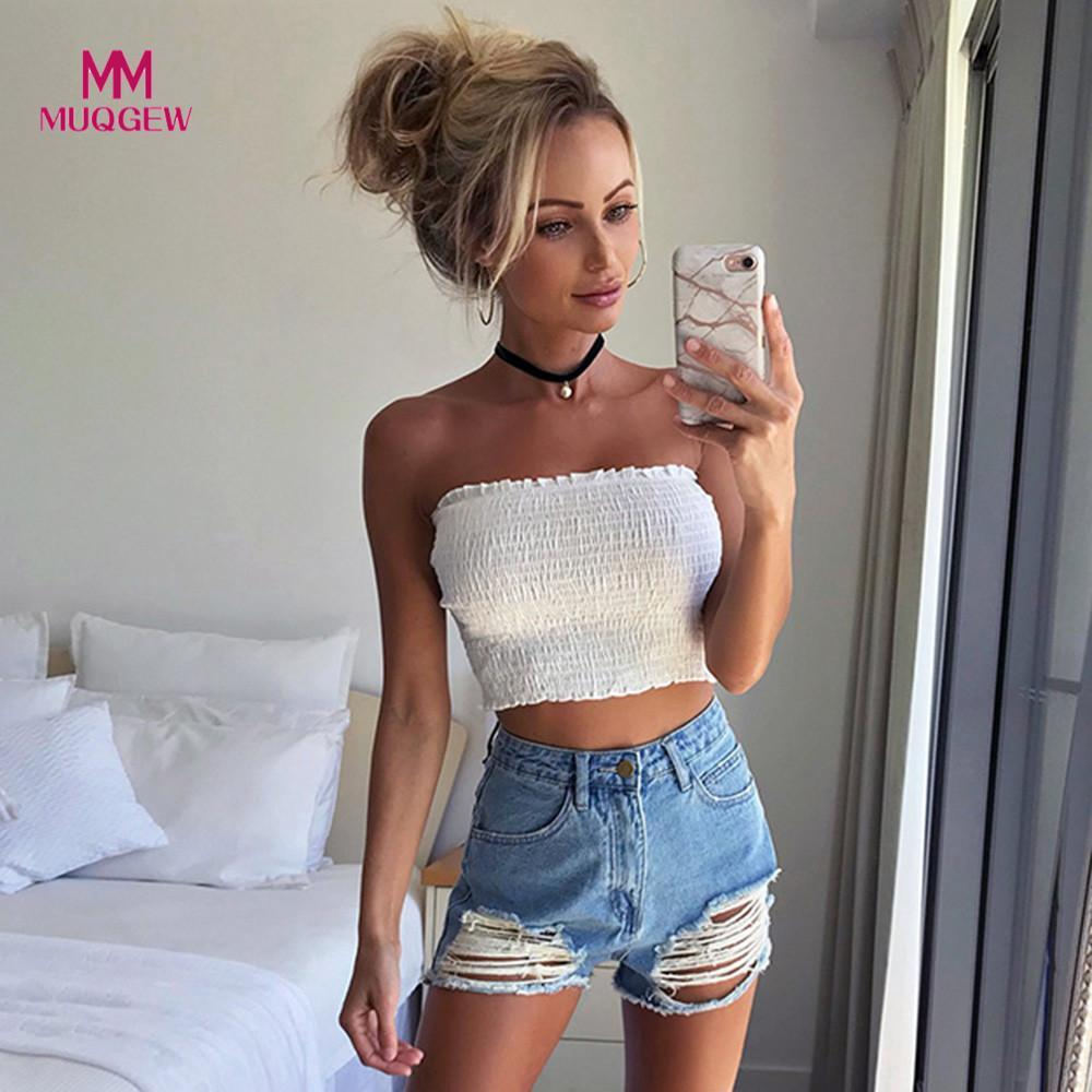 69308cf5523 2019 Fashion Women Strapless Elastic Boob Bandeau Tube Crop Tops Solid Bra  Lingerie Breast Wrap Party Club Beach Shirt Tank Top From Carawayo