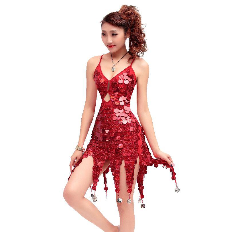 Party Kleid Dance Kostüm Latin Pailletten Halloween Großhandel Damen T1JclFK