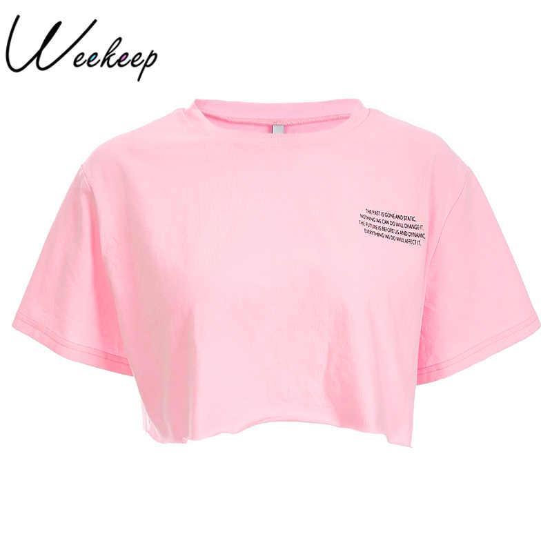 84df77bcb69f2e Großhandel Weekeep Damen Art Und Weiselosen Buchstabe Druck Rosat Shirt  2018 Sommer Baumwollstraßen Oansatz T Shirt Geerntetes Kurzarm T Shirt Von  Paluo, ...