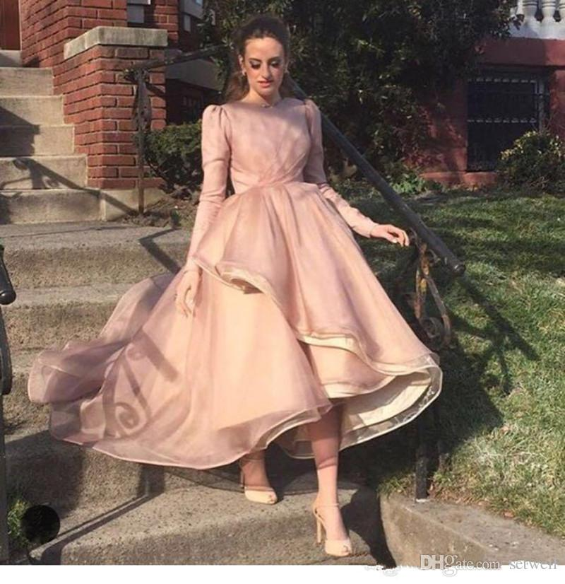 60e5883c3eb2 Elegant Pink Long Sleeves Ball Gown Prom Dresses High Low Simple Formal  Party Gowns Prom Dress Prom Dresses White Prom Long Dresses From Setwell,  ...