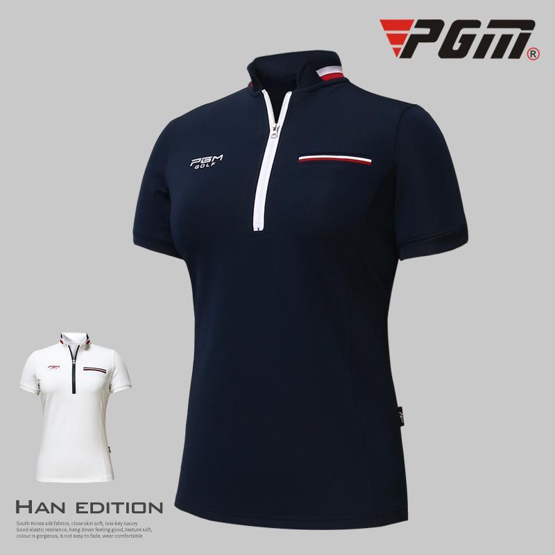 d3ca93c01a 2018 PGM Roupas de Golfe mulheres de manga curta de Verão Respirável  esportes T camisa de golfe Fino Treinamento vestuário lady Top jersey  tamanho S-XL