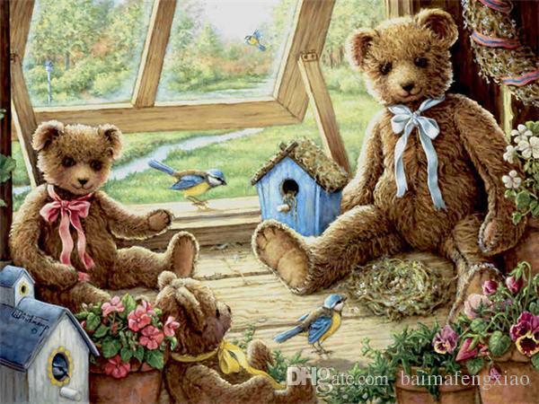 Алмаз вышивка животных милый медведь diy Алмаз живопись вышивки крестом комплект смолы полный круглый бриллиант мозаика украшения дома подарок ro0133