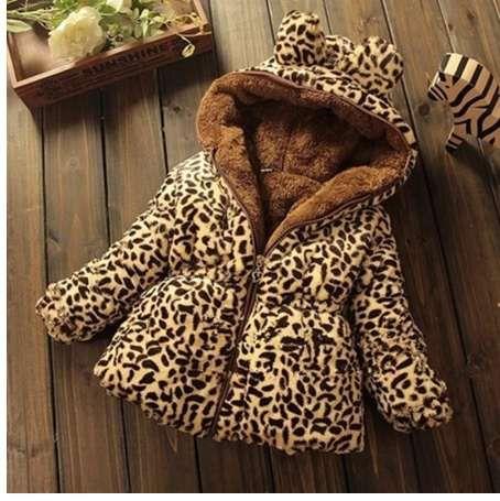 e972d24a32bb Winter Children Coat Leopard faux fox fur collar coat Jacket Baby Girl  Outerwear Hoodies Infant Clothing cashmere Warm Jackets