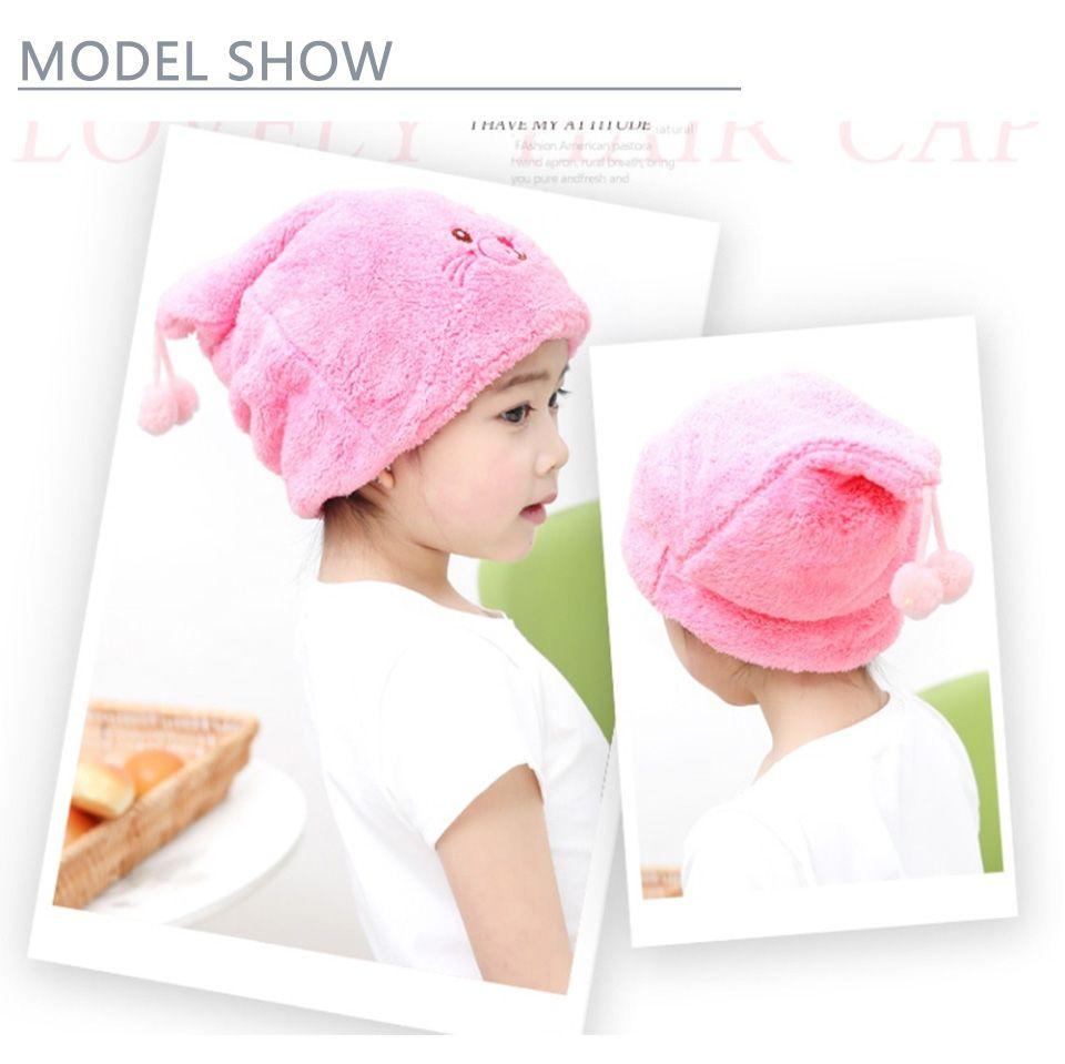 Cute Kids Dry Hair Cap Thickening Coral Velvet Super Absorbent Towel