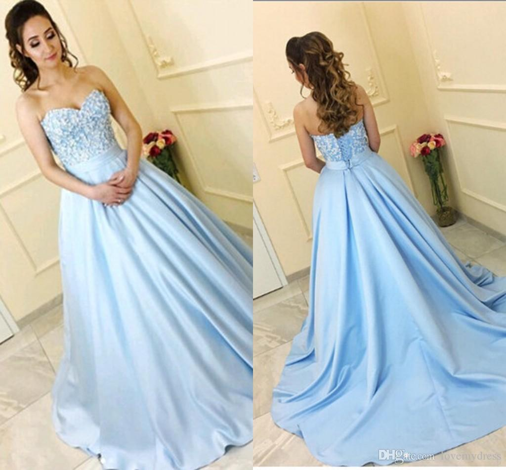 3f095cbc2b08 Elegant Light Sky Blue Ball Gown Prom Evening Dresses Formal Gown  Sweetheart Beaded Sequin Satin Corset Back With Sweep Train Cheap Long  Floor Length Prom ...