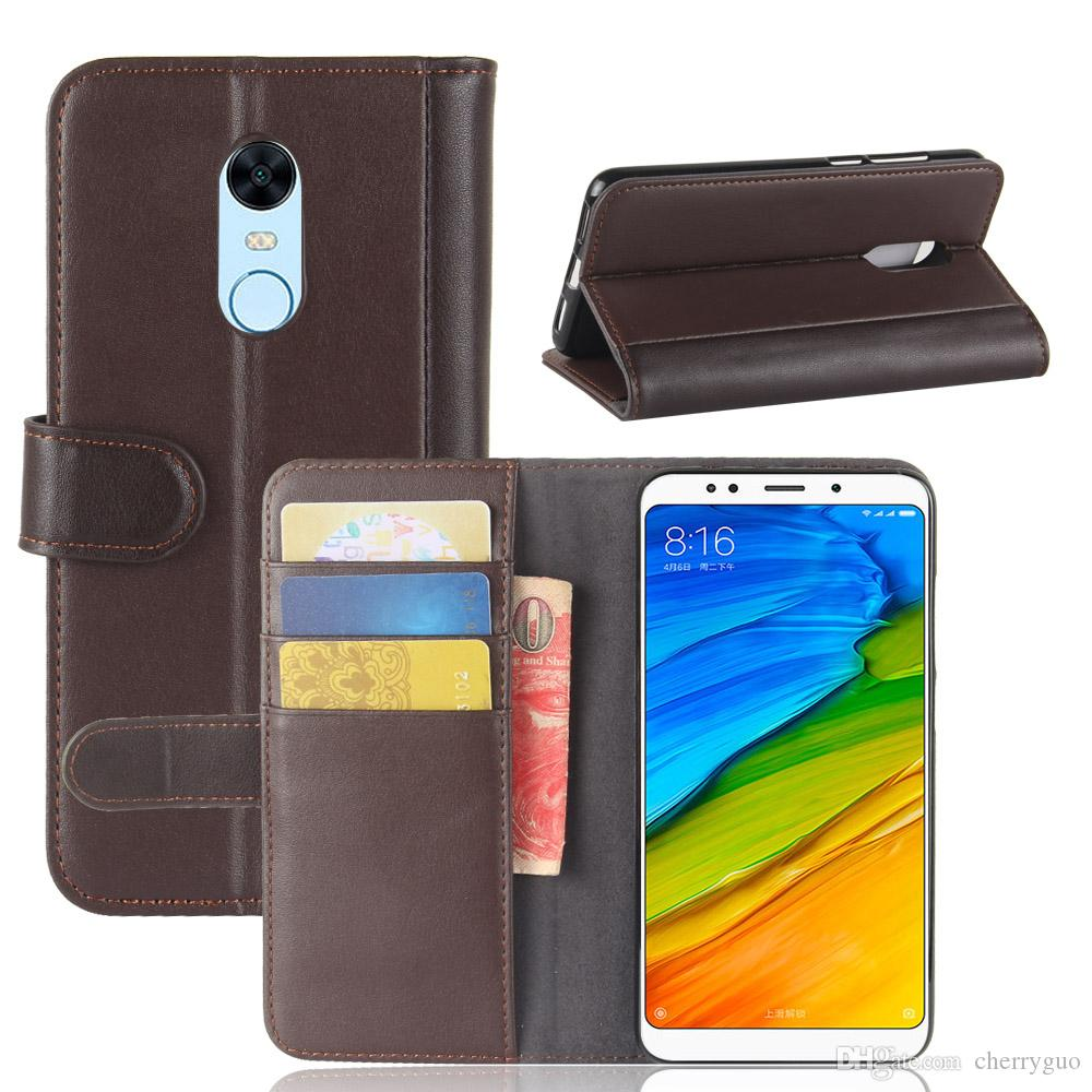 new arrival f8b03 29eb5 Flip Cover for Xiaomi Redmi 5 Plus, TPU Soft Case Genuine Leather Wallet  Stand Case with Card Slots
