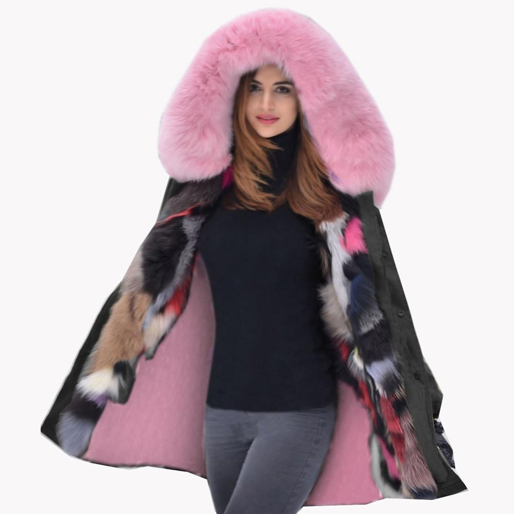 6fe0b9b9c7e 2019 Roiii 2018 Fashion Winter Coat Loose Hooded Pink Faux Fur Thickened  Overcoat Snow Wear Long Parka Female Luxury Jacket Plus Size S18101505 From  ...