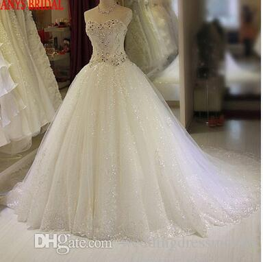 Luxury Wedding Dresses Ball Gown Crystal Beaded Sweetheart Tulle Chinese  Wedding Gown Weeding Bridal Bride Dresses Weddingdress Discount Dresses  Dress ... 1729d9c21304