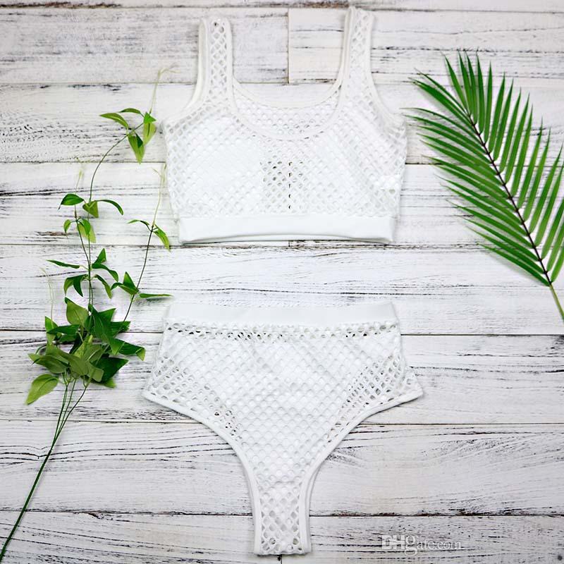 Noir taille haute Bikini Set 2018 maillot de bain femmes maille évider maillot de bain Push Up Halter maillot de bain été plage porte 3009