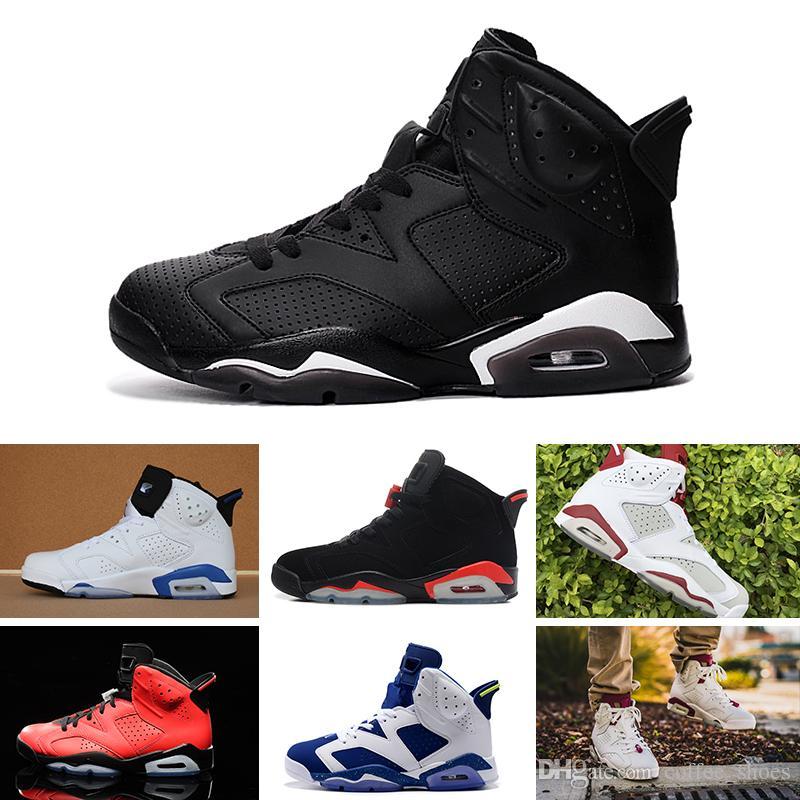 separation shoes 8989d 43159 Großhandel Nike Air Jordan 6 Retro Basketball Shoes Carmine Mens Schuhe  Classic 6s Unc Schwarz Blau Weiß Infrarot Niedrig Chrom Frauen Männer Sport  Blau Rot ...