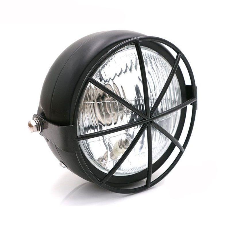 TKOSM motocicleta negro Metal Retro Grill máscara + 12V Hi / Low Bean Blub amarillo lente frontal linterna para Honda CB100 CB125S CL GN125 CG125