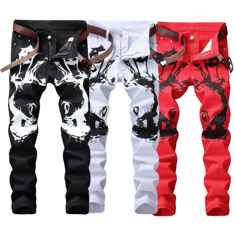 Compre Moda Streetwear Jeans Para Hombre Slim Fit Blanco Negro Rojo Color  Pantalones Elásticos Punk Hip Hop Jeans Club Nocturno Estilo Hombres  Impresos A ... ec44c014784