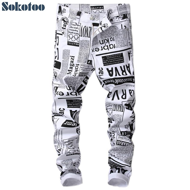 Sokotoo Men's fashion white paper printed jeans Slim fit black painted stretch denim pans
