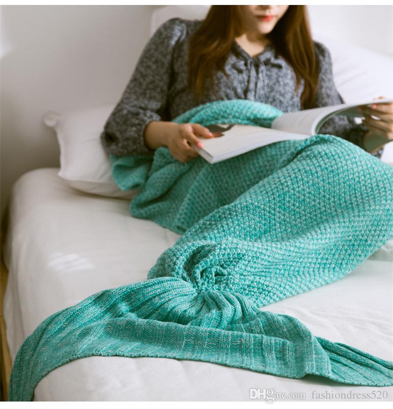 Mermaid Adult Children Baby Blankets Mermaid Tail Knitted Blanket Kids Handmade Crochet Blanket Throw Bed Wrap Sofa Sleeping Bag Baby Quilt