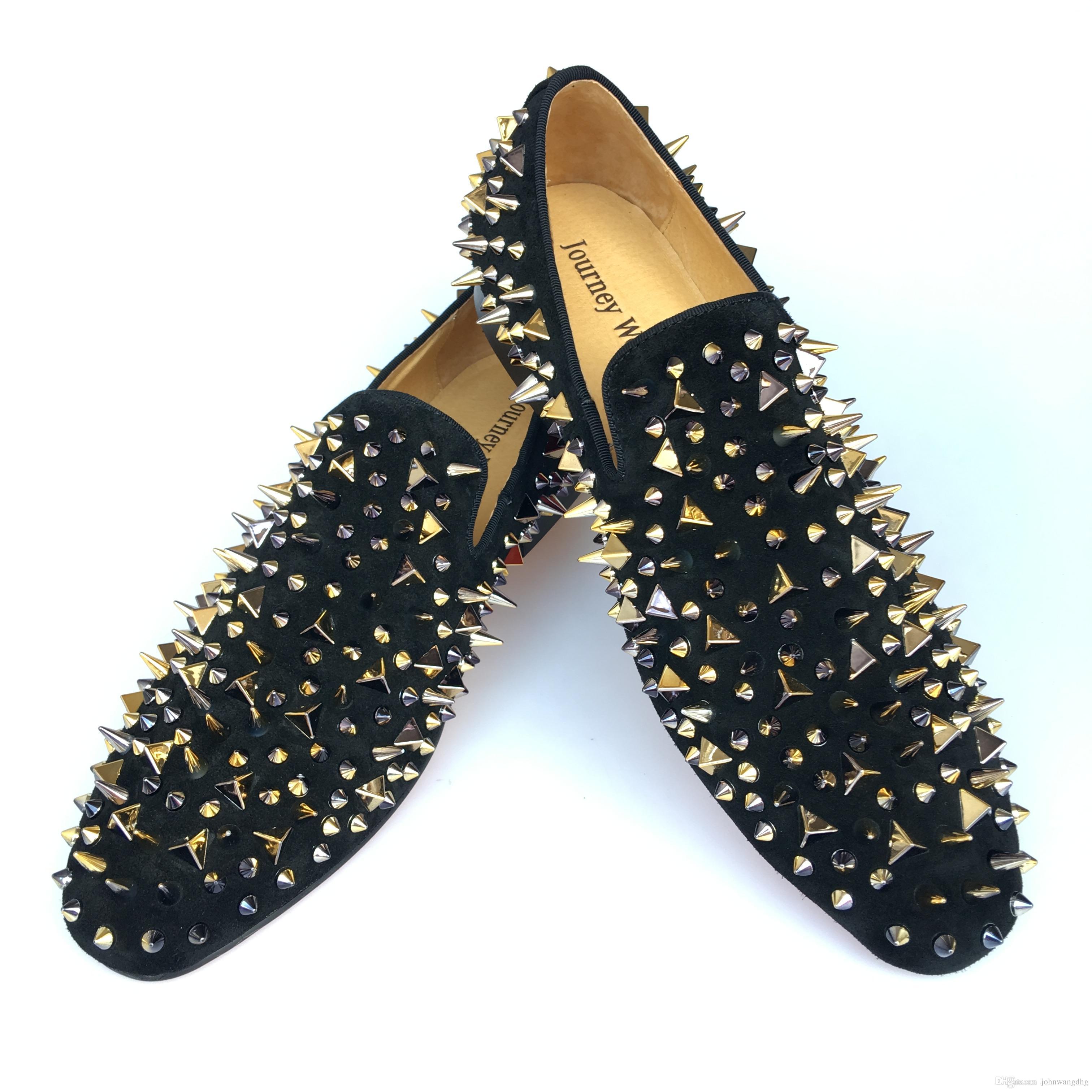 4e59b92a65 Compre Zapatos De Vestir De Cuero Negros De Los Hombres Hechos A Mano De  Los Holgazanes De Los Remaches De Los Remaches Del Oro Zapatos De Las  Zapatillas De ...