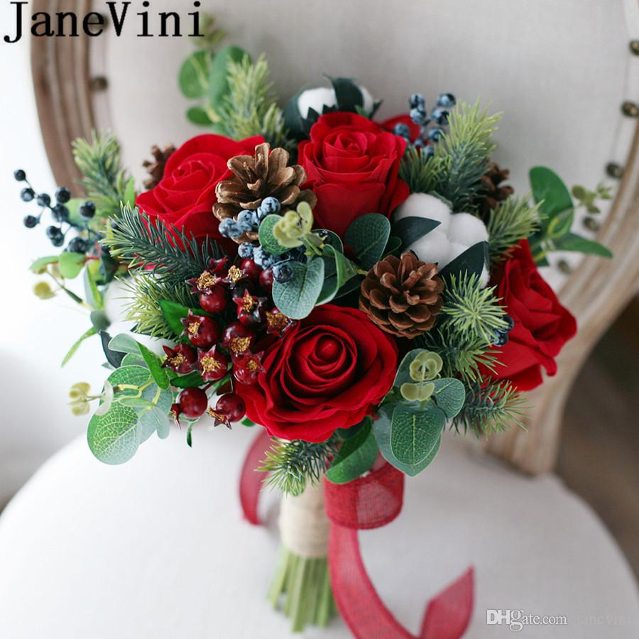 Janevini Red Bridal Bouquet Vintage Forest Artificial Cotton Wedding