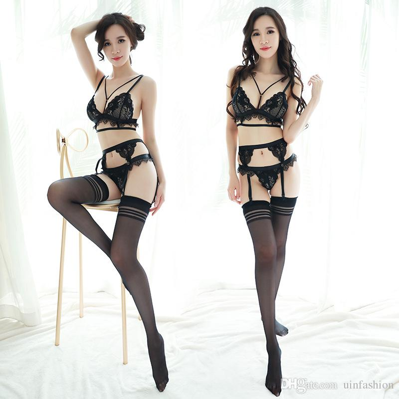 b76afc2f429 2019 Ladies Sheer Intimates Female Stockings Set Sexy Lingerie Lace Set Hot  Erotic Costumes Open Crotch Sexy Underwear From Uinfashion