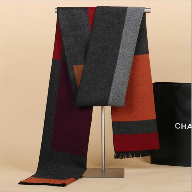 2ac7eda582d21 2018 New Men Scarf Color Contract Mufflers Business Casual Men's Scarves  Neckerchief for Male Winter Shawl pashmina sjaal szalik D18102406