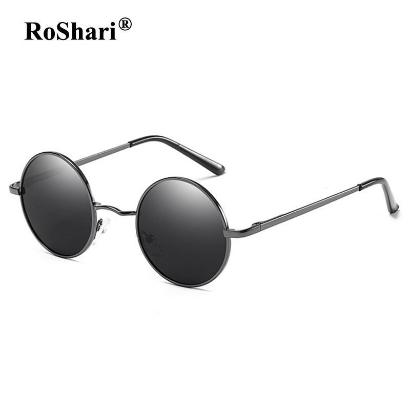 9b8936d2aa Compre RoShari Retro Steampunk Gafas De Sol Polarizadas Mujeres Hombres Vintage  Gafas De Sol Redondas Gafas De Sol Para Hombres Lentes De Sol Mujer B801 A  ...