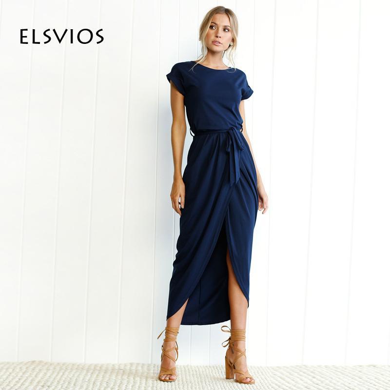 83a054c70a ELSVIOS Boho Split Long Dress Fashion Women O Neck Maxi Dress Summer Short  Sleeve Solid Dress With Belt Vestidos XS 3XL D1891303 Ladies Black Dress  Summer ...
