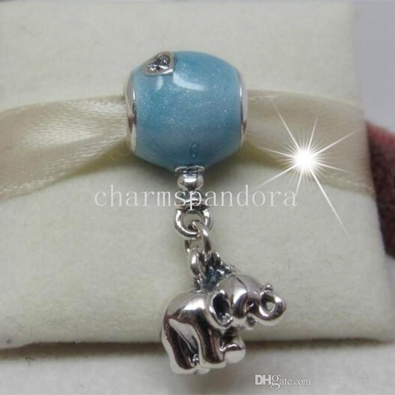 106f9ca1e 2019 925 Sterling Silver Elephant And Blue Balloon Hanging Dangle Bead With  Cz Fit European Pandora Charm Bracelet & Necklace From Charmspandora, ...