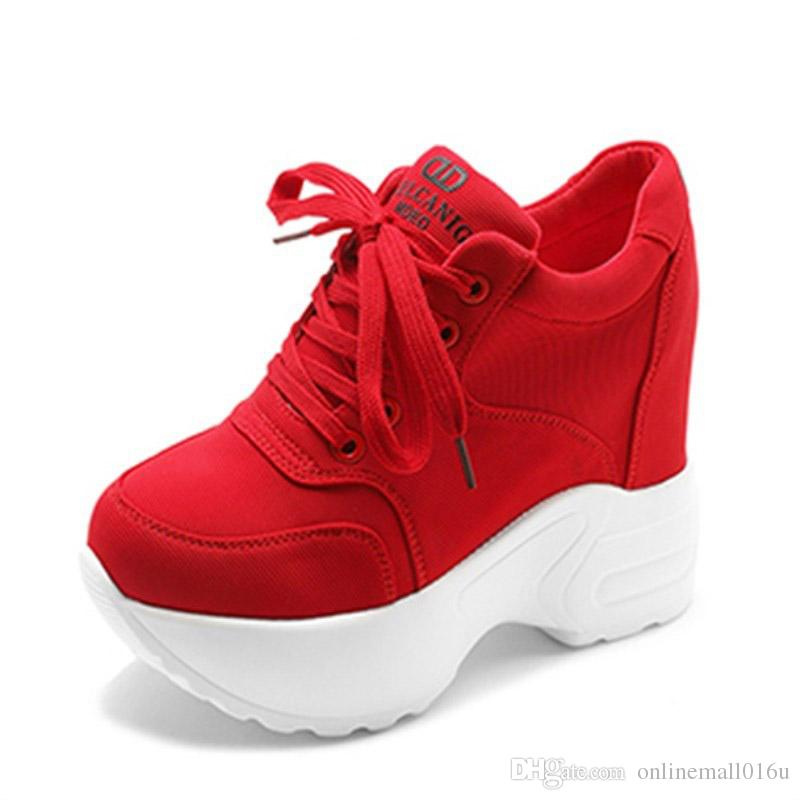 6eac2bfa31a9 2018 Women Sneakers Mesh Casual Platform Trainers White Shoes 10CM Heels  Autumn Wedges Breathable Woman Height Increasing Shoes Online with   55.09 Piece on ...