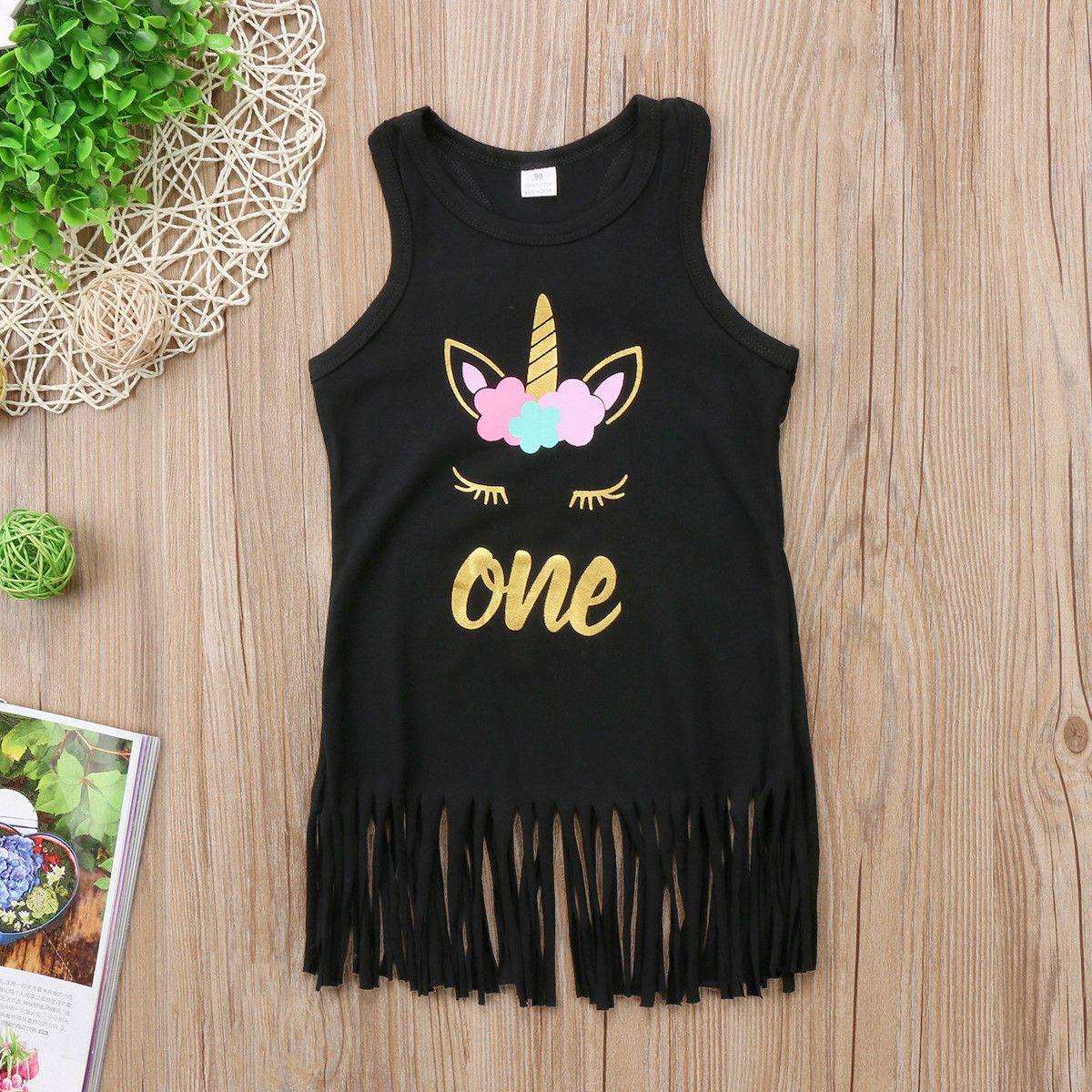 6079a5ad1 2019 2018 Summer Baby Girls Tassel Unicorn Sleeveless Black Dresses ...