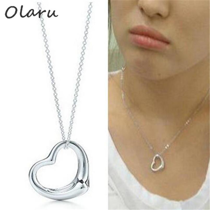 Olaru Fashion Jewelry Metal Heart Korea Choker Necklace For Woman ... 04c2aea71fc0