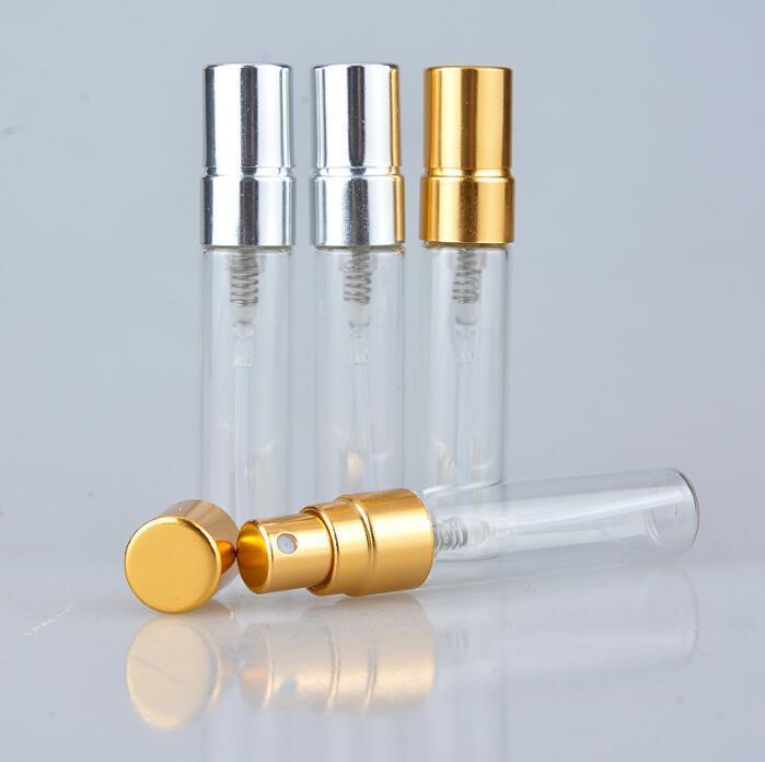 5 ML Mini botella de perfume de vidrio de colores portátiles con atomizador de aluminio envases cosméticos vacíos para el viaje envío gratis