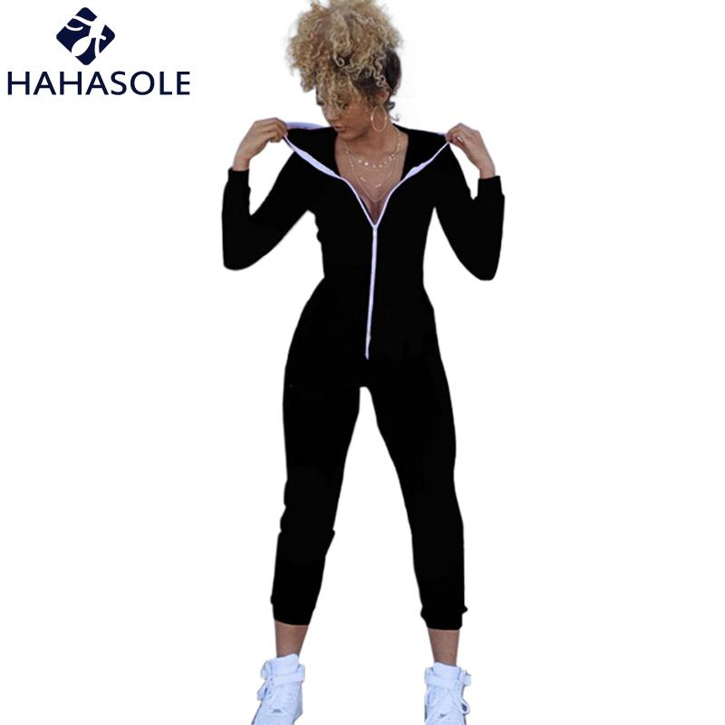 3bada7a4127d 2019 HAHASOLE Jumpsuit Women Fitness Clothing Zipper Yoga 2018 Solid Black  One Piece Sport Suit Running Yoga Set Bodysuits HWA2270 4 From Jinzoug
