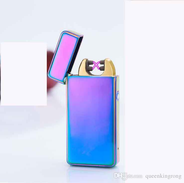 금속 USB 라이터 충전식 무 화염 전기 아크 방풍 시가 담배 크로스 더블 슬림 LED 7 색 라이터를 선택 펄스