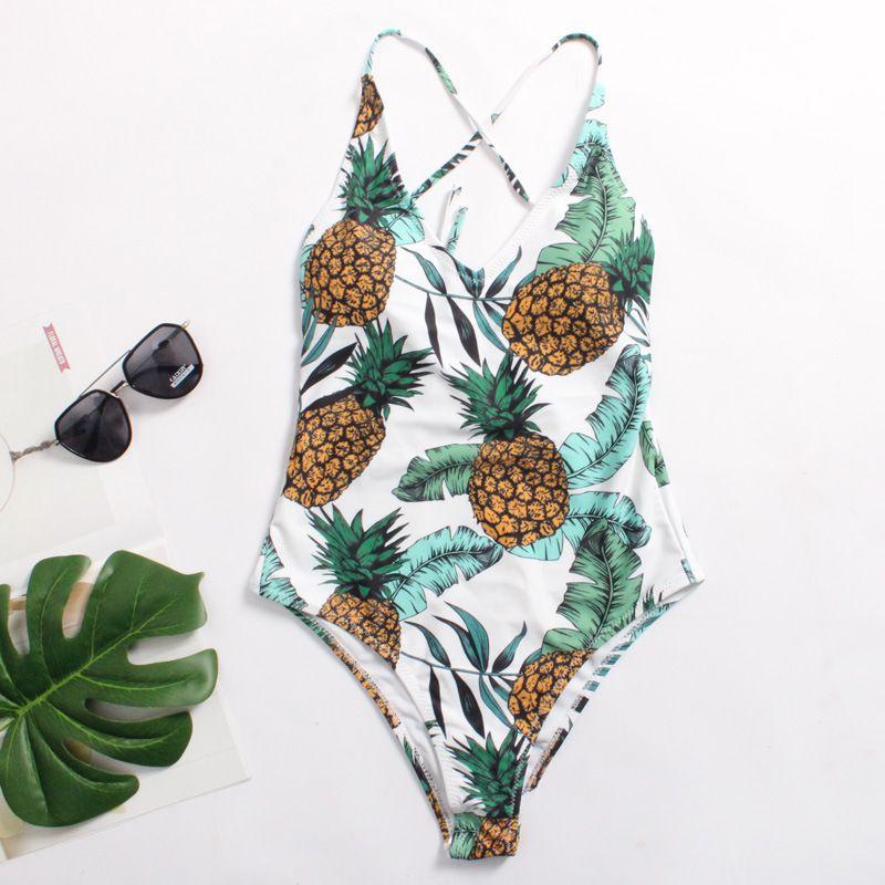 sito affidabile f463c 69b5a Costume da bagno intero stampato con fiori tropicali a forma di ananas con  scollo a V e stampa a pipistrello 2018
