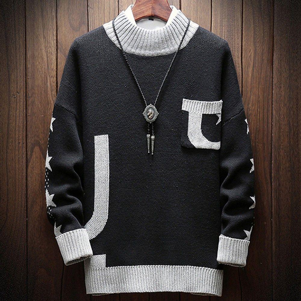 Compre 2018 Moda Hombre Suéter Otoño Invierno Cuello Alto Manga Larga Jersey  Alfabético Masculino Suéter Blusa Top Plus Size 5XL   A  35.13 Del Longmian  ... 454591fa5eaa