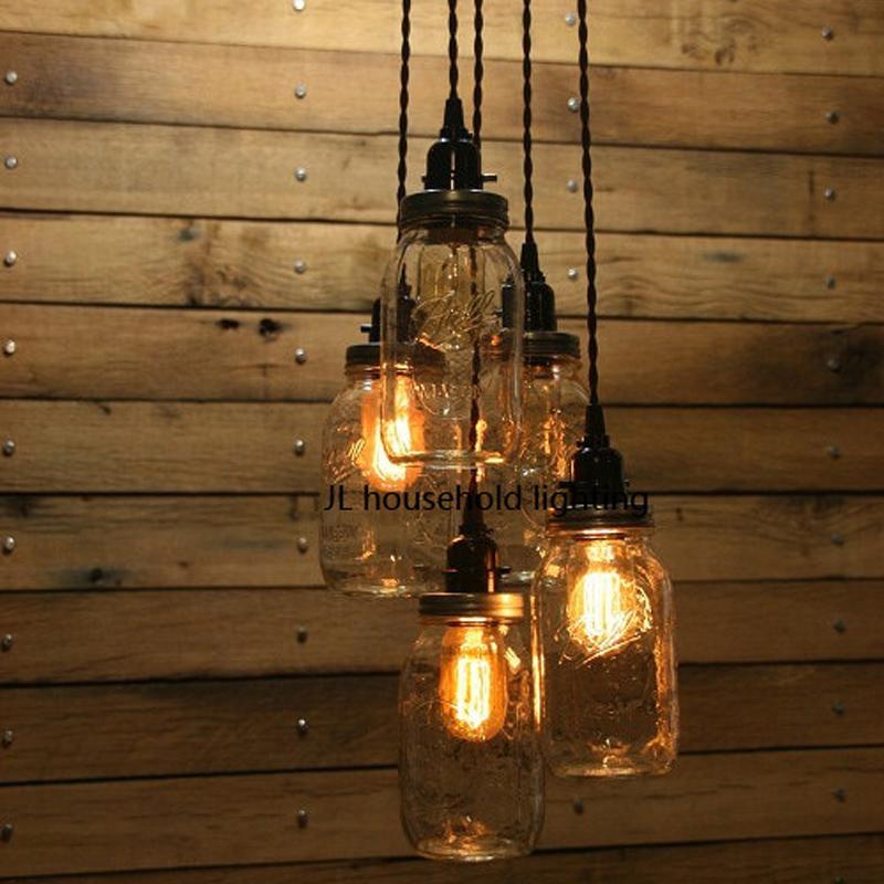 Grosshandel Mason Jar Pendelleuchte Lampen Leuchten Bar Rustikal