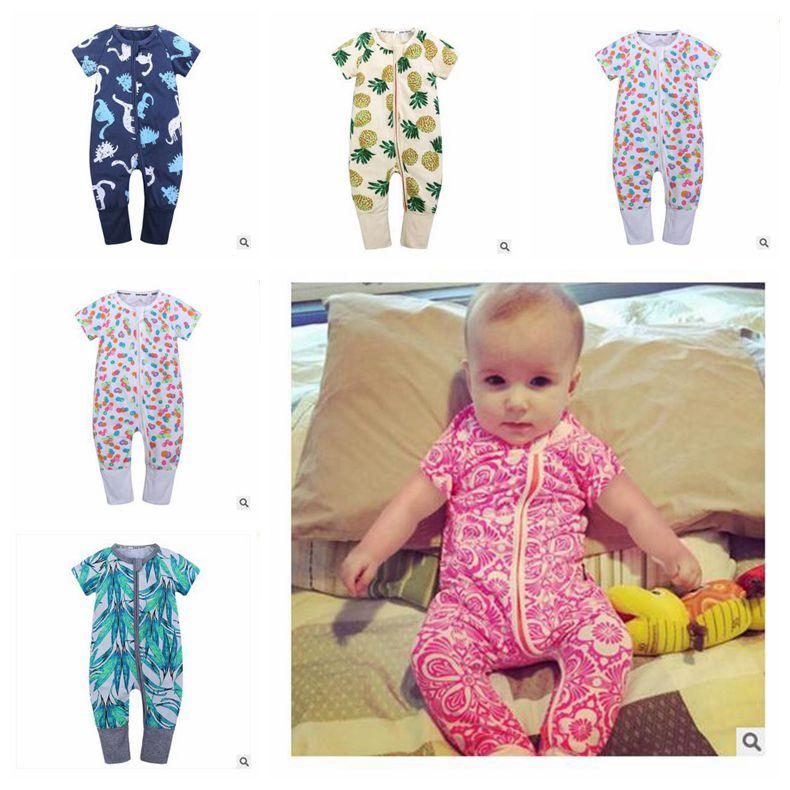 Newborn Clothes One pieces Boys Girls Jumpsuit Baby Rompers Pineapple Short Sleeve Cotton Overalls Romper DHL