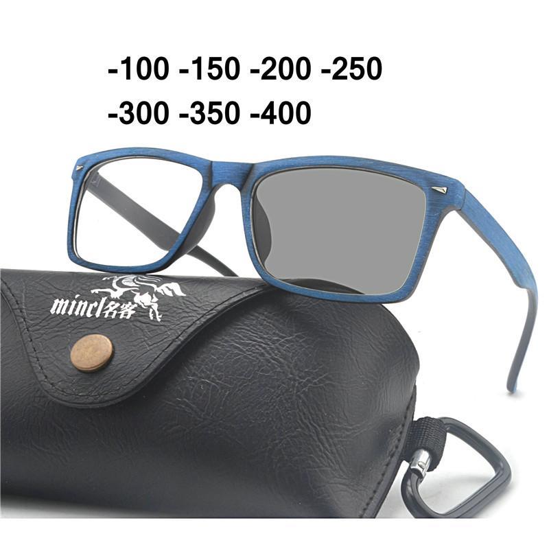 04b8505dae Retro Round Wood Color Sun Photochromic Finished Myopia Eyeglasses ...