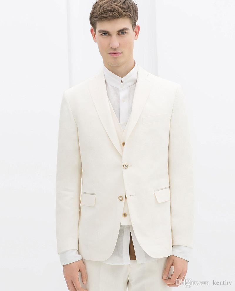 313c7ea85ae7 2018 Summer Beach White Men Suits Wedding Suits Custom Made Bridegroom  Groomsmen Slim Fit Formal Blazer Prom Party Tuxedos Best Man Casual Suits  Cheap Suit ...