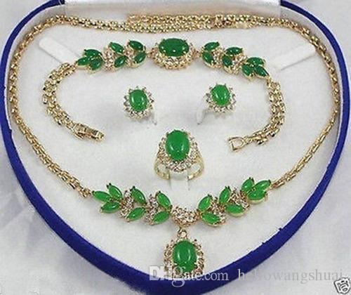 Jewelry green jade Necklace Bracelet Ring Earring Sets +box