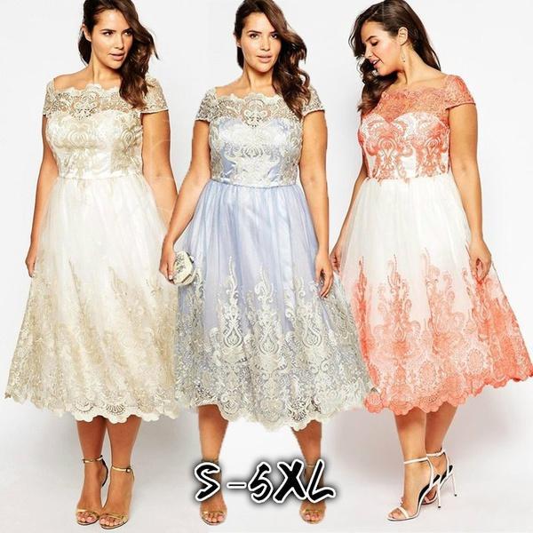 2018 Women Wedding Dress Cap Sleeve Print Party Dress Elegant ...