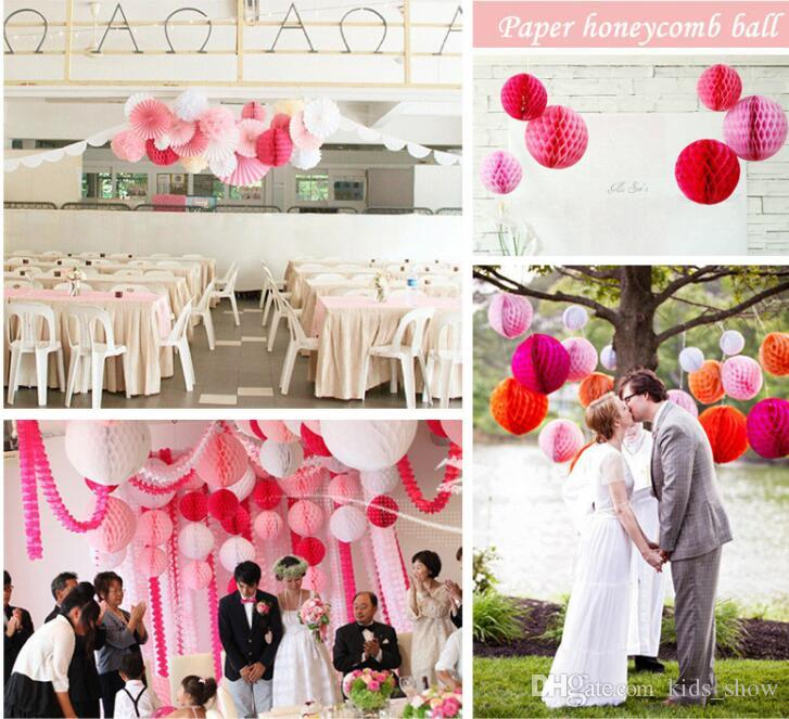 Papel de nido de abeja bola de la flor de papel 15/20/25/30 cm linterna decoración de la boda suministros de vacaciones para el hogar decoración del partido
