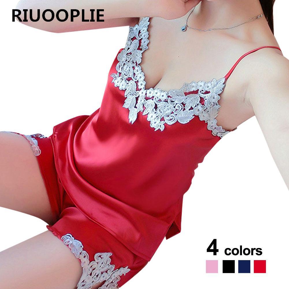 5e75324d011094 RIUOOPLIE Sexy Silk Nachtwäsche Für Frauen Satin Stickerei Spitze Pyjamas  Anzüge 2 Stück Set Camisoles Tanks Shorts