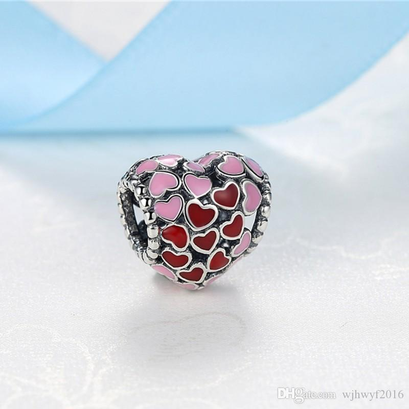 Valentines Collection Pure 925 Sterling Silver Jewellery Burst Of Love Red Pink Heart Silver Bead Charms Diy Bracelet Jewelry Making